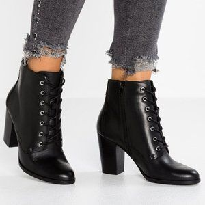 Aldo Black Faux Leather Heel Lace Up Boots